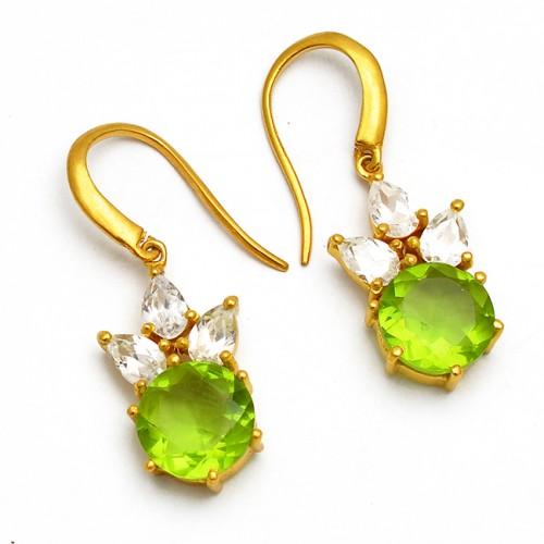 Peridot Crystal Quartz Gemstone Prong Setting Dangle 925 Sterling Silver Gold Plated Earrings