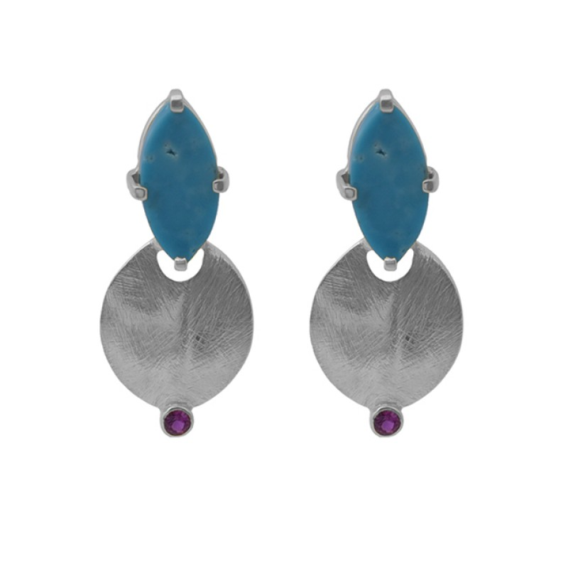 turquoise Pink Quartz Gemstone 925 Sterling Silver Jewelry Stud Earrings