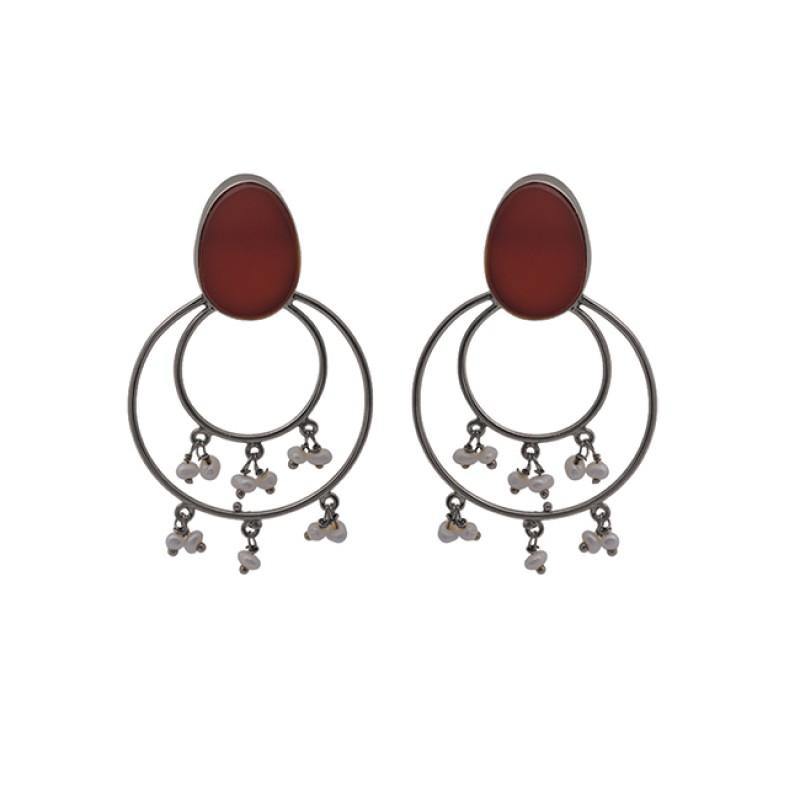 Red Onyx Pear Gemstone 925 Sterling Silver Jewelry Stud Earrings