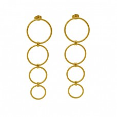 925 Sterling Silver Jewelry Plain Handmade Designer Gold Plated Earrings