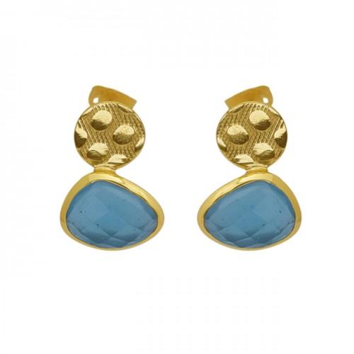 Fancy Shape Aqua Chalcedony Gemstone 925 Silver Jewelry Earrings
