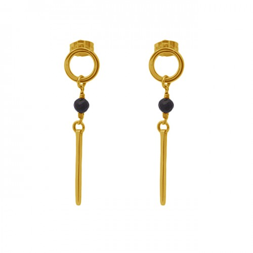 Round Shape Black Onyx Gemstone 925 Sterling Silver Stud Earrings