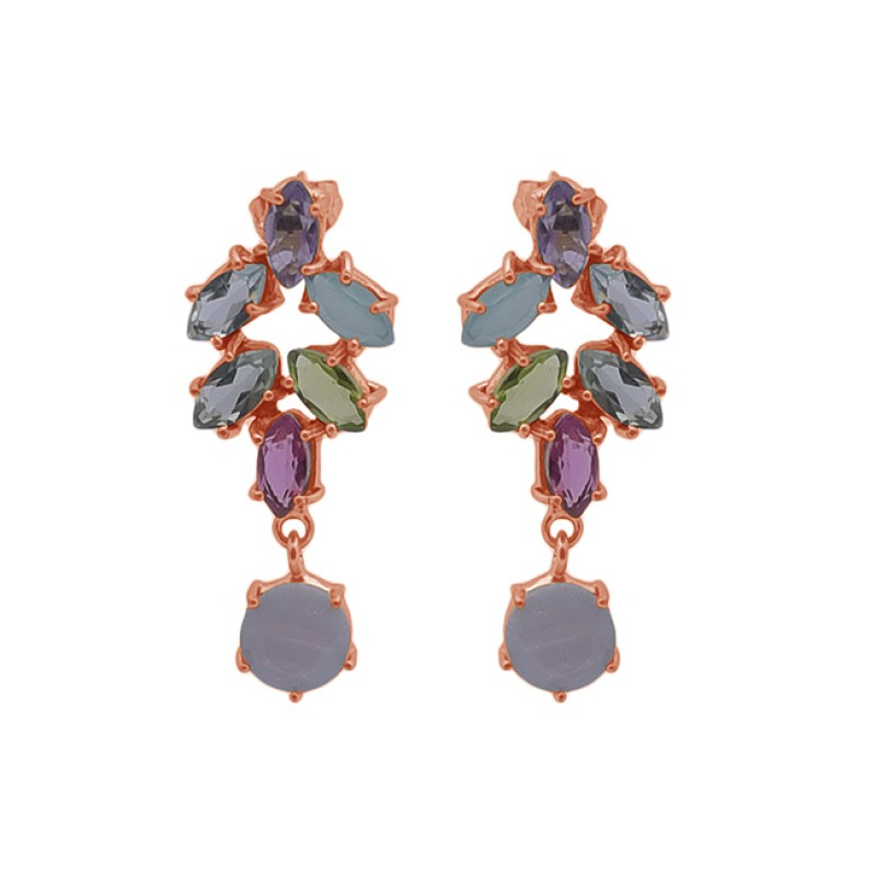 Prong Setting Multi Color Gemstone 925 Silver Jewelry Cocktail Earrings