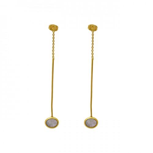 Oval Shape Rainbow Moonstone 925 Sterling Silver Jewelry Earrings