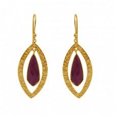 Fancy Shape Ruby Gemstone 925 Sterling Silver Jewelry Gold Plated Earrings