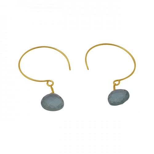 Heart Shape Green Amethyst Gemstone 925 Silver Jewelry Hoop Earrings