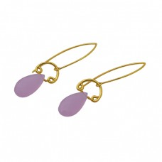 Rose Chalcedony Gemstone 925 Sterling Silver Jewelry Gold Plated Earrings