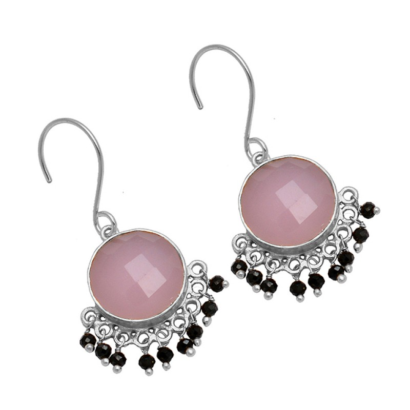 Roundel Beads Dangling Chalcedony Onyx Gemstone 925 Sterling Silver Gold Plated Earrings