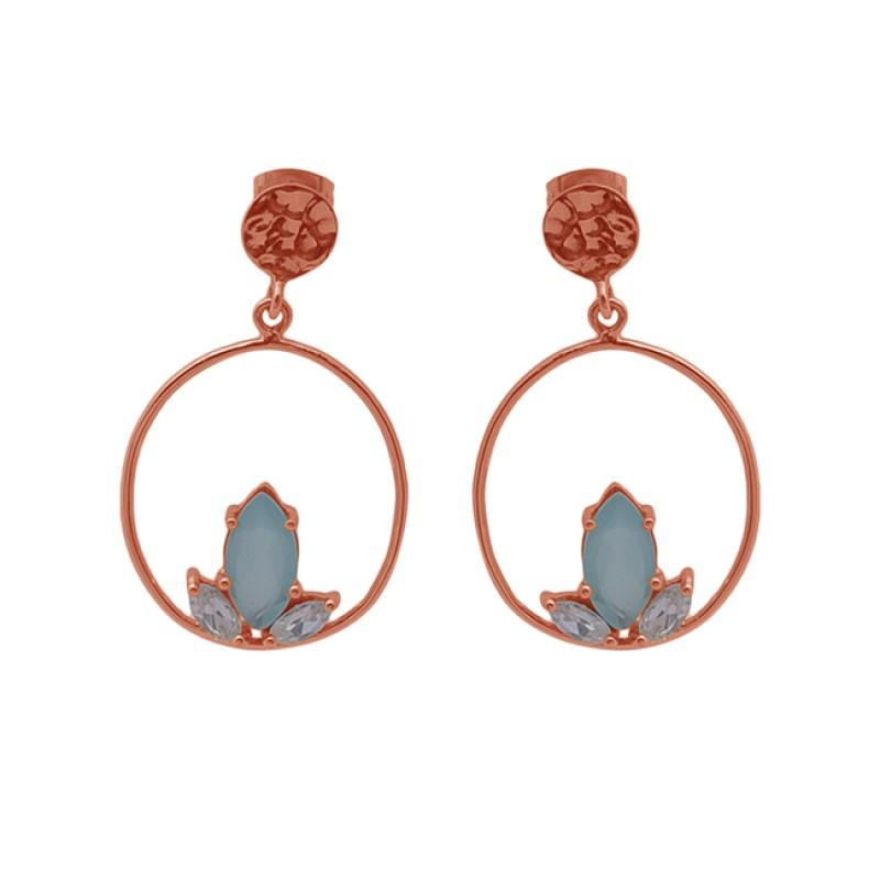 Aqua Chalcedony Gemstone 925 Silver Jewelry Gold Plated Stud Earrings