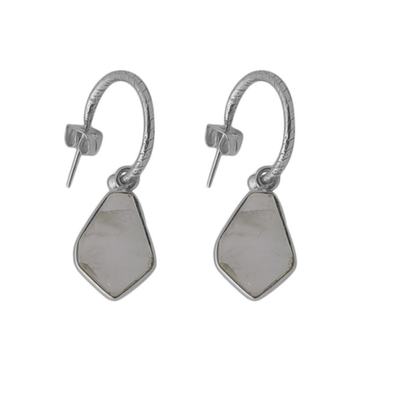 Fancy Shape Prehnite Chalcedony Gemstone 925 Silver Jewelry Earrings