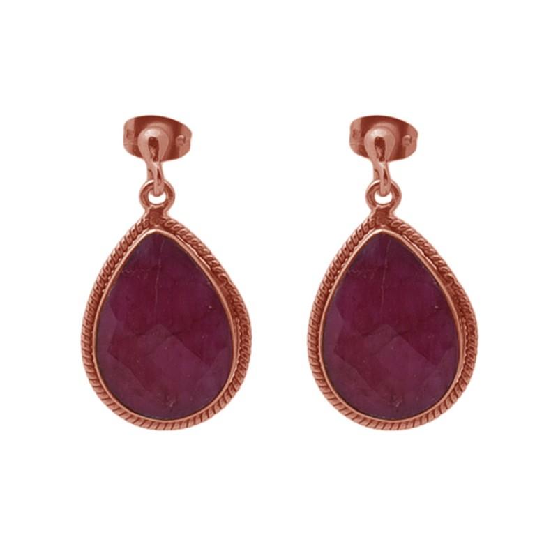 Pear Shape Ruby Gemstone 925 Sterling Silver Jewelry Stud Dangle Earrings