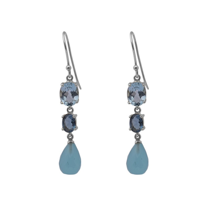 925 Sterling Silver Jewelry Gemstone Prong Set Gold Plated Dangle Earrings