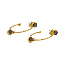 Round Shape Smoky Quartz Gemstone 925 Sterling Silver Hoop Earrings