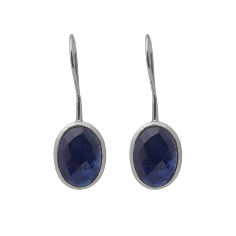 Oval Shape Sapphire Gemstone 925 Silver Jewelry Gold Plated Earrings