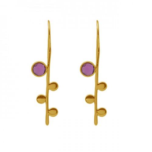 Round Shape Pink Quartz Gemstone 925 Sterling Silver Jewelry Earrings