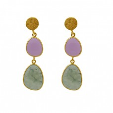 Fancy Shape Chalcedony Gemstone 925 Silver Jewelry Bezel Set Earrings
