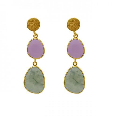 Fancy Shape Chalcedony Gemstone 925 Silver Jewelry Bezel Set Earrings