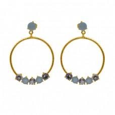 Prong Set Round Gemstone 925 Sterling Silver Jewelry Gold Plated Earrings