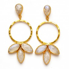 Flower Shape Designer Pear Marquise Shape Gemstone 925 Sterling Silver Gold Plated Earrings