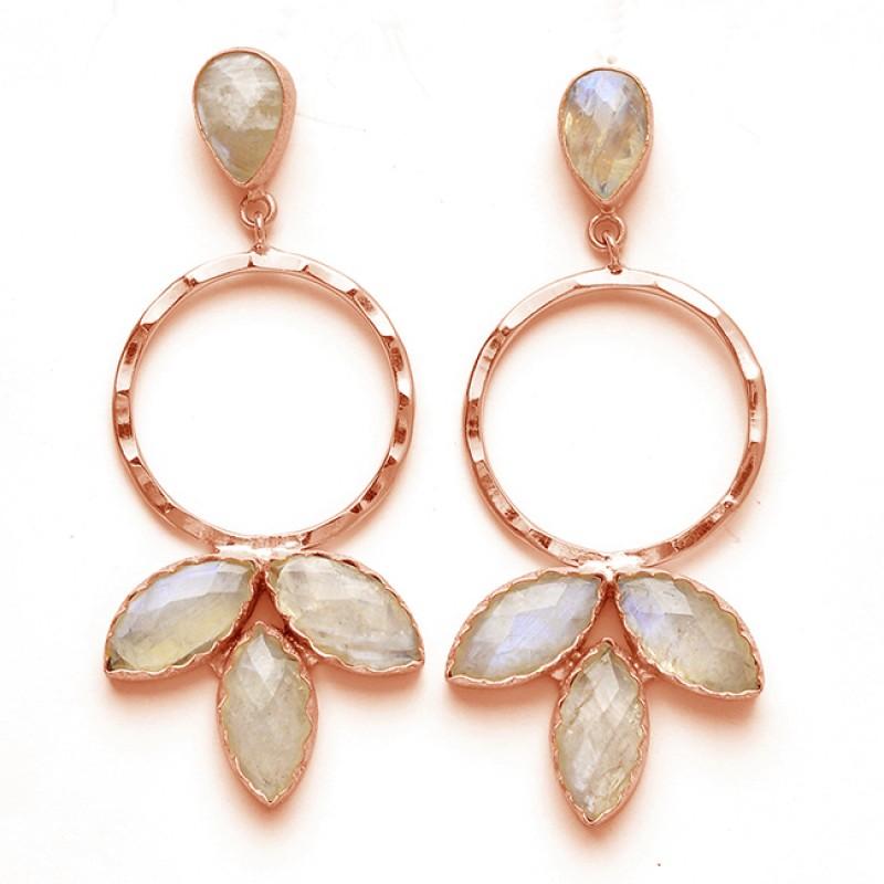 Flower Shape Designer Pear Marquise Shape Gemstone 925 Sterling Silver Gold Plated Earrings