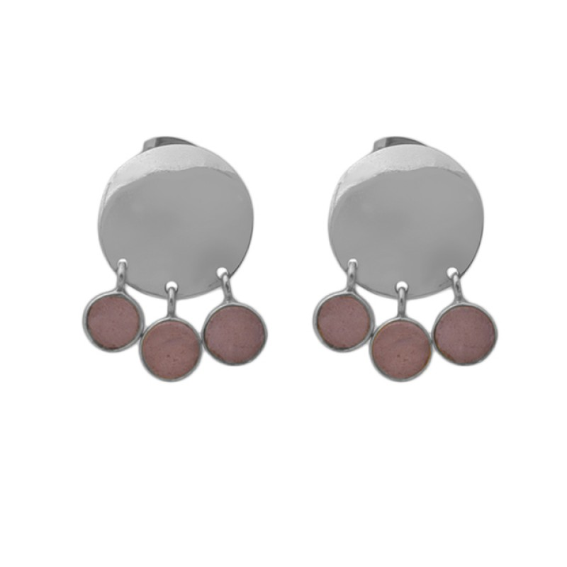 Round Peach Moonstone 925 Sterling Silver Jewelry Stud Dangle Earrings