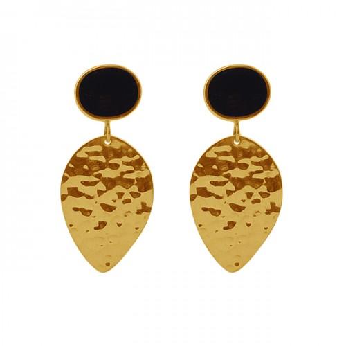 Oval Shape Black Onyx Gemstone 925 Silver Jewelry Hammered Earrings