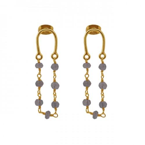 Herkimer Diamond Gemstone 925 Sterling Silver Jewelry Beaded Earrings
