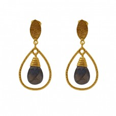 Pear Shape Labradorite Gemstone 925 Silver Jewelry Gold Plated Dangle Earrings