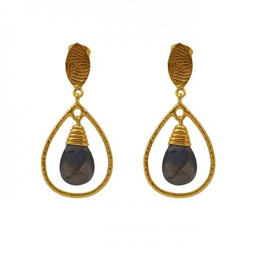 Pear Shape Labradorite Gemstone 925 Silver Jewelry Gold Plated Dangle Earrings