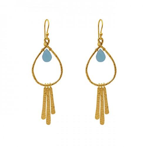 Pear Shape Aqua Chalcedony Gemstone 925 Silver Jewelry Dangle Earrings