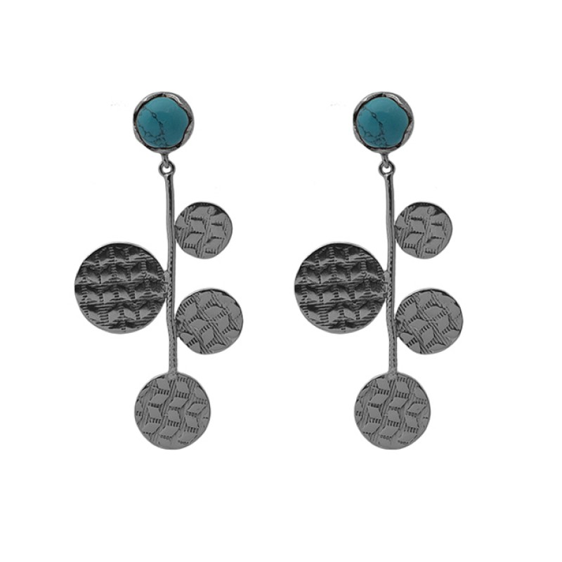 Round Shape Turquoise Gemstone 925 Sterling Silver Jewelry Stud Earrings