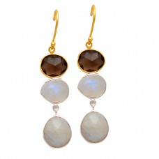 Oval Briolette Smoky Quartz Rainbow Gemstone 925 Sterling Silver Gold Plated Dangle Earrings