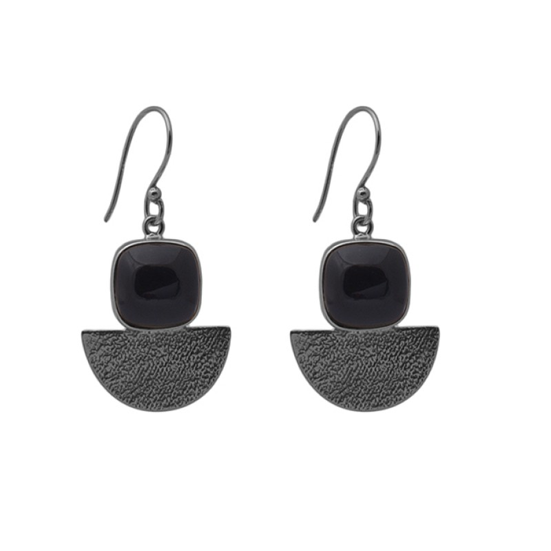 Cushion Shape Black Onyx Gemstone 925 Silver Jewelry Ear Wire Earrings