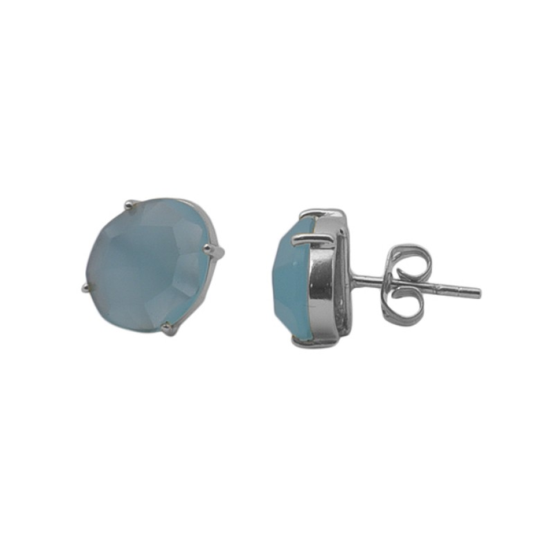 Oval Shape Aquamarine Gemstone Prong Set 925 Silver Jewelry Earrings