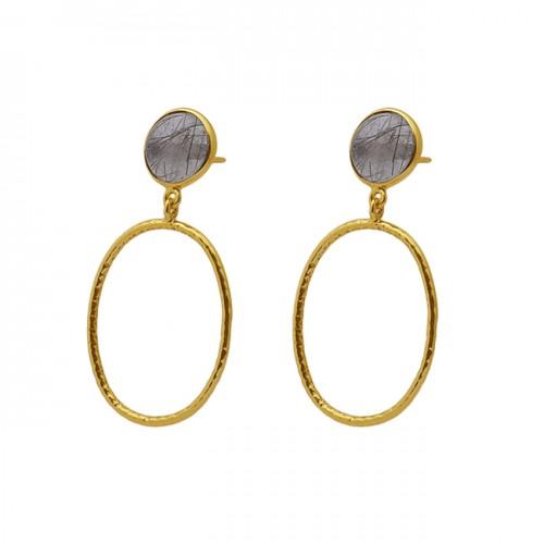 Bezel Set Oval Golden Rutile Quartz Gemstone 925 Silver Jewelry Stud Earrings