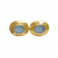 Oval Aqua Chalcedony Gemstone 925 Silver Jewelry Stud Earrings