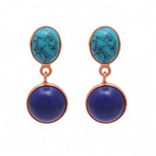 Oval Round Shape  Turquoise Sapphire  Gemstone 925 Silver Jewelry Stud Earrings