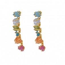 Rough Shape Apatite Peridot Chalcedony Ruby Citrine  Gemstone 925 Silver Jewelry  Earrings