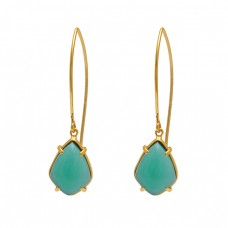 Fancy Shape Aqua Chalcedony Gemstone 925 Silver Jewelry Earrings