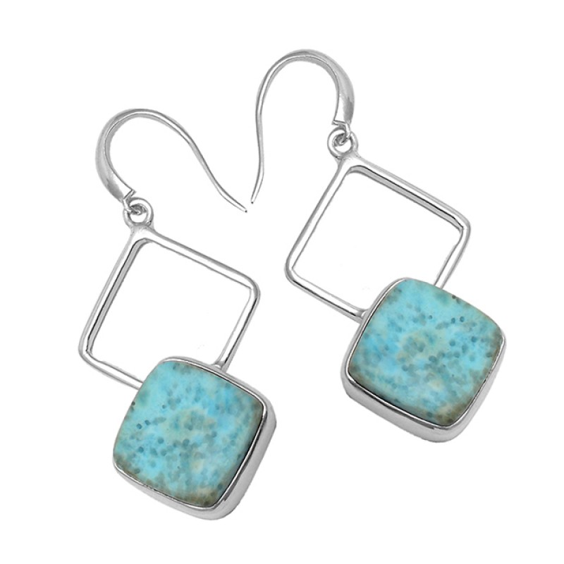 Cushion Cabochon Larimar Gemstone 925 Sterling Silver Handmade Earrings