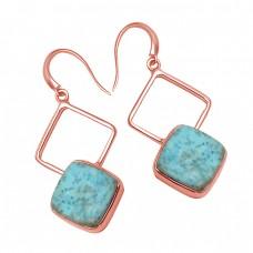 Cushion Cabochon Larimar Gemstone 925 Sterling Silver Handmade Earrings