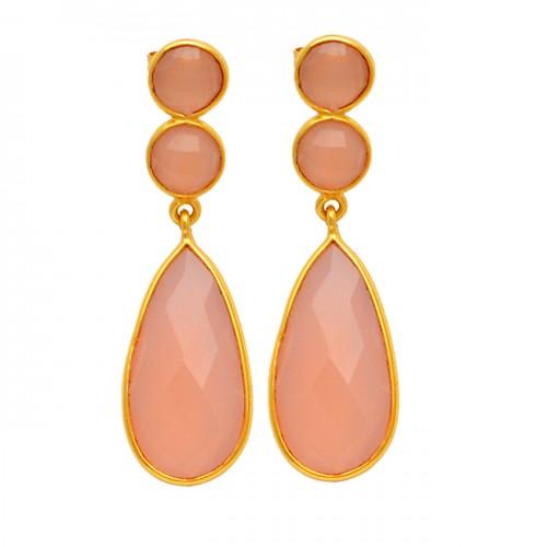 Bezel Setting Dangle Earrings Pear Round Shape Gemstone 925 Sterling Silver Gold Plated Jewelry