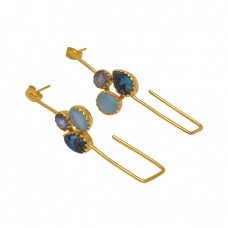 925 Sterling Silver Jewelry Multi Color Gemstone Gold Plated Earrings