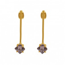 Square Shape Smoky Quartz Gemstone 925 Sterling Silver Jewelry Earrings