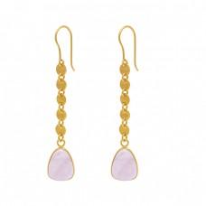 Pear Shape Rose Chalcedony Gemstone 925 Silver Jewelry Ear Wire Earrings
