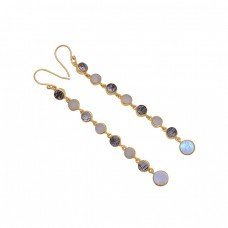 Round Shape Gemstone 925 Sterling Silver Jewelry Handmade Earrings