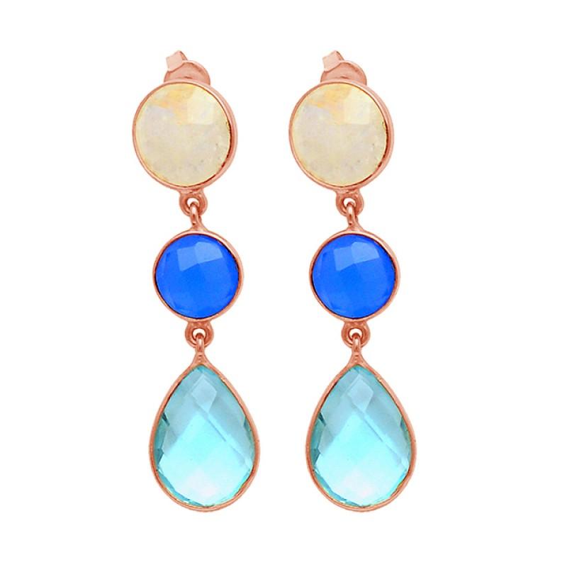 Stud Dangle Earrings Topaz Rainbow Chalcedony Gemstone 925 Sterling Silver Handmade Jewelry