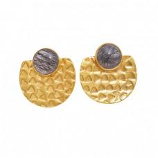 Round Shape Black Rutile Quartz Gemstone 925 Silver Jewelry Earrings