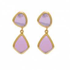 925 Sterling Silver Jewelry Fancy Shape Gemstone Gold Plated Earrings