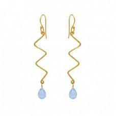 Pear Drops Shape Blue Topaz Gemstone 925 Silver Jewelry Ear Wire Earrings